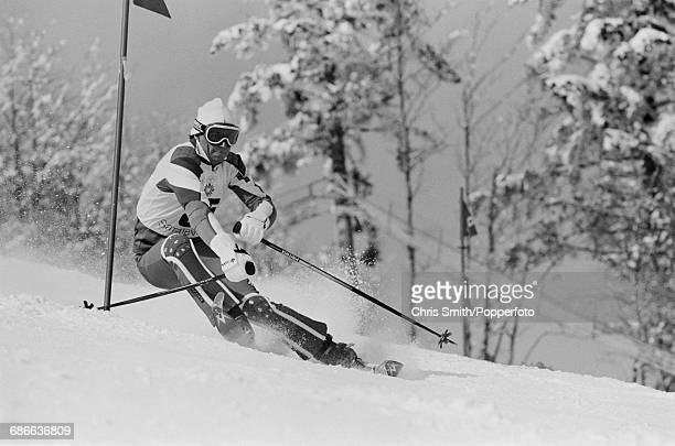 Bolivian alpine skier Scott Sanchez pictured in action during competition to fail to finish the Men's slalom event at the 1984 Winter Olympics at...