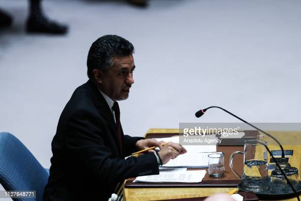 Bolivian Ambassador to the United Nations Sacha Sergio Llorenty Soliz makes a speech during the Security Council on the situation in Venezuela at the...