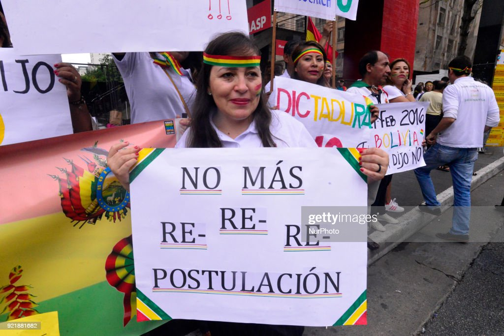 "Bolivian descendants living in Brazil protest against the controversial court ruling that could allow Evo Morales to remain indefinitely in power in Bolivia. Decision of the Bolivian constitutional court accepts requests from Morales' coreligionists and ends limits for consecutive terms in the country; sentence says that human rights treaty takes precedence over the country's constitution by contemplating ""more favorable"" norms to political rights. 51% of those who participated in the popular consultation rejected to change the Bolivian Constitution, which establishes limits of two consecutive terms for president, vice president, governor and mayor."
