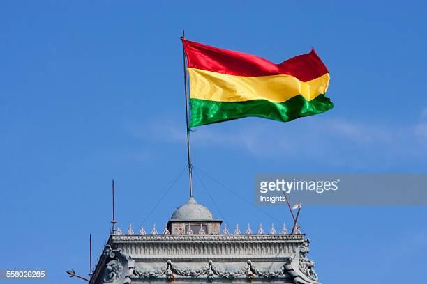 Bolivian flag atop the Government Palace currently Prefectura del Departamento de Chuquisaca Sucre Chuquisaca Department Bolivia