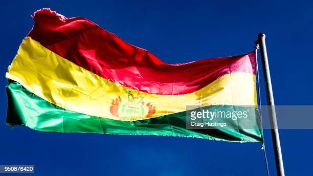bolivian flag flying in the wind - bolivien stock-fotos und bilder