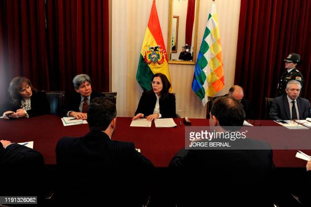 Bolivian Foreign Minister Karen Longaric holds a meeting with ambassadors of countries of the European Union, at the Foreign Ministry in La Paz, on...