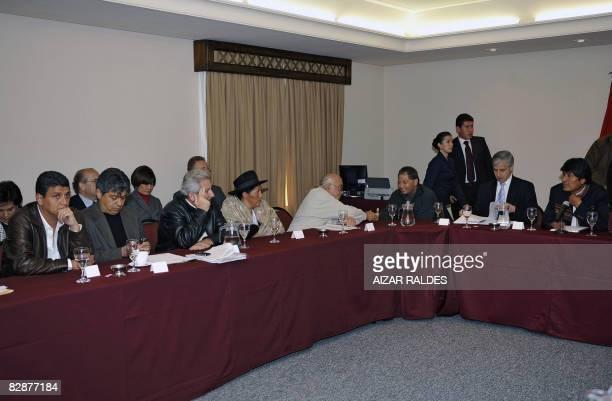 Bolivian governors Ernesto Suarez of Beni Mario Cossio of Tarija Ruben Costas of Santa Cruz Sabina Cuellar of Chuquisaca Rafael Puente of Cochabamba...