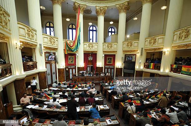 Bolivian lawmakers hold a session at the National Congress in La Paz on October 21, 2008 a day after pro and anti government congressmen agreed to...
