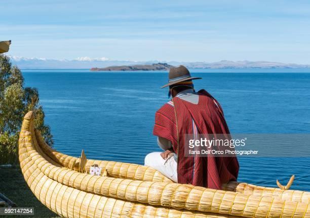 Bolivian man on the Titicaca Lake