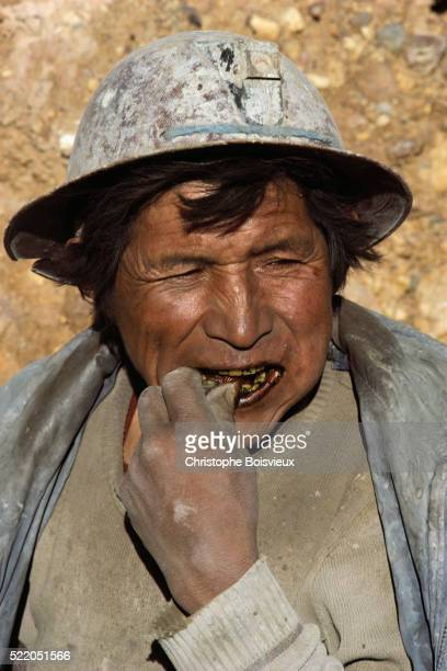 Bolivian Miner Chewing Coca Leaves