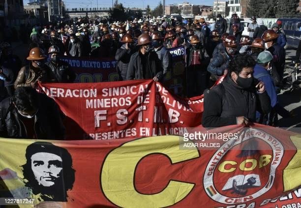 Bolivian miners, supporters of former Bolivian president Evo Morales, take part in a protest against a second postponement of the general election...