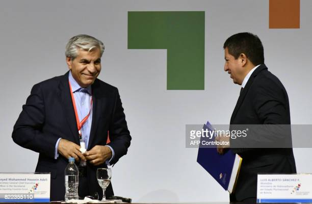 Bolivian Minister of Hydrocarbons and Energy Luis Alberto Sanchez and the Secretary General of the Gas Exporting Countries Forum Iranian Seyed...