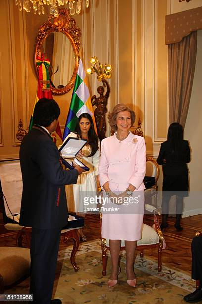 Bolivian President Evo Morales and Queen Sofia of Spain meet in the Governors Palace on October 16 2012 in La Paz Bolivia Spanish and Bolivian...
