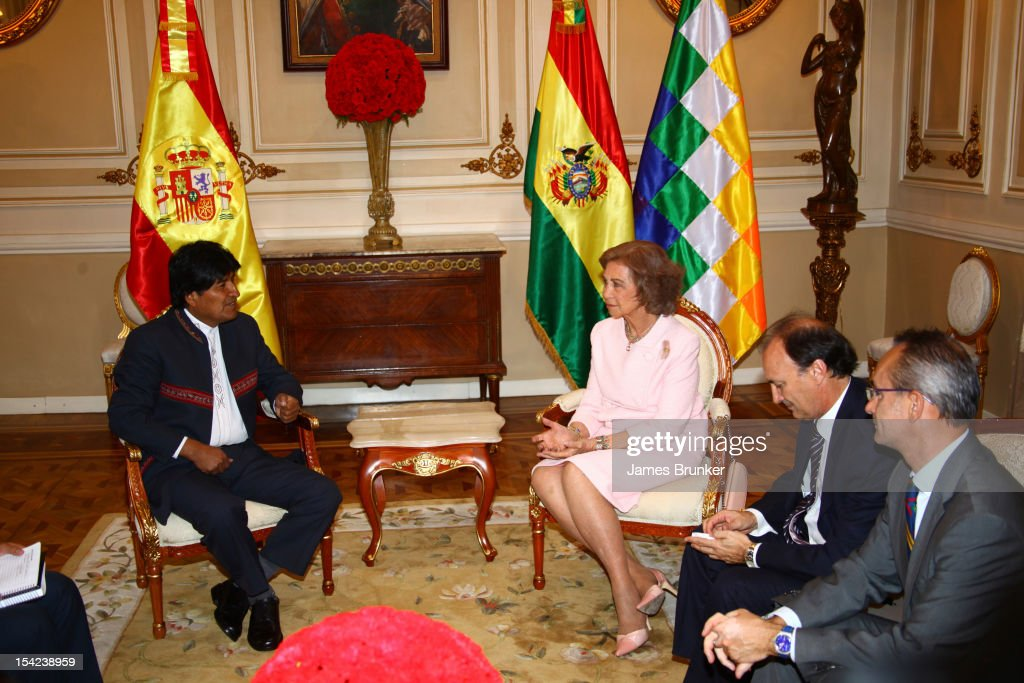 Queen Sofia Meets Evo Morales in La Paz