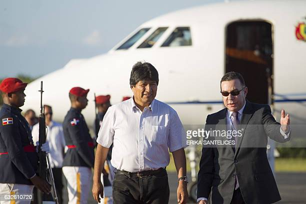 Bolivian President Evo Morales arrives at Punta Cana airport in the Dominican Republic on January 24 to participate in the Fifth Summit of the...