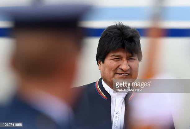 Bolivian President Evo Morales arrives on August 7, 2018 at the CATAM military airport in Bogota, where he will attend Colombia's President Ivan...
