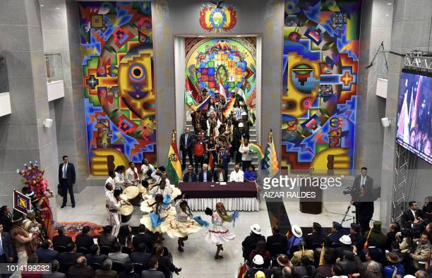 Bolivian President Evo Morales Ayma attends the inauguration of the new government palace the 'Casa Grande del Pueblo' in La Paz on August 09 2018...