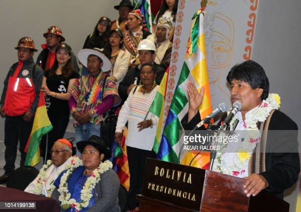 Bolivian President Evo Morales Ayma delivers a speech during the inauguration of the new government palace the 'Casa Grande del Pueblo' in La Paz on...