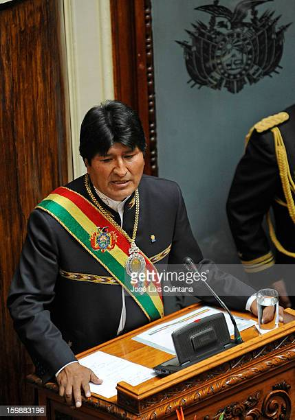 Bolivian President Evo Morales Ayma during his speech to inform about his government during the celebration of the third anniversary of the...