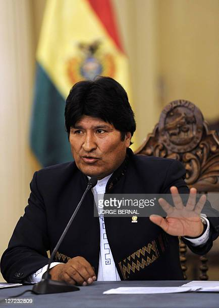 Bolivian President Evo Morales delivers a press conference at Quemado presidential palace in La Paz on September 26 to announce the suspension of the...