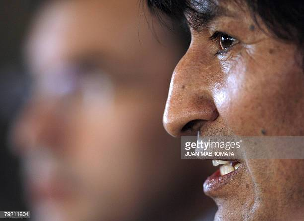 Bolivian President Evo Morales delivers a speech during the ceremony to put out to tender the construction of the Argentinian north-eastern gas...