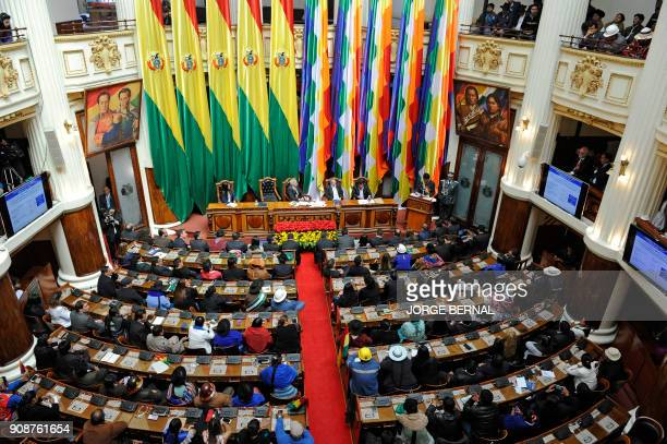 Bolivian President Evo Morales gives his annual message to the nation before the National Assembly in La Paz on January 22 2018 marking his 12th year...