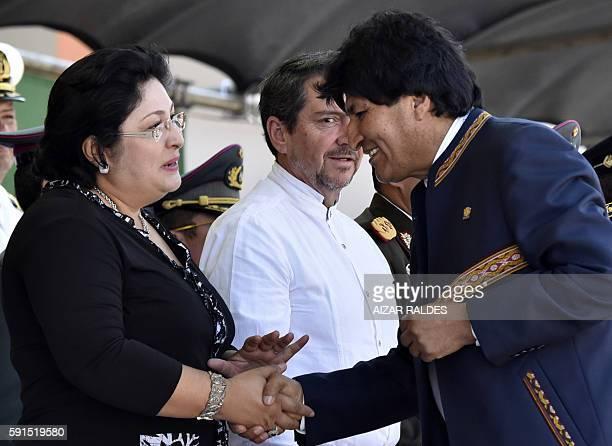Bolivian President Evo Morales greets Nicaraguan Defense Minister Martha Ruiz Sevilla during the inauguration of the Juan Jose Torres AntiImperialist...