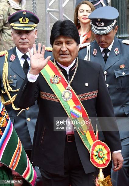 Bolivian President Evo Morales heads to the Congress to give his annual message to the nation on the Plurinational State Foundation Day which marks...