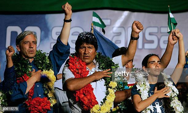 Bolivian President, Evo Morales of the Movement Towards Socialism party, his Vice-President Alvaro Garcia Linera , and candidate to candidate to...