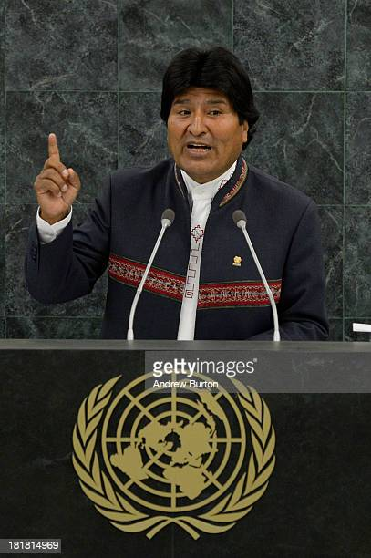 Bolivian President Evo Morales speaks at the 68th United Nations General Assembly on September 25 2013 in New York City Over 120 prime ministers...