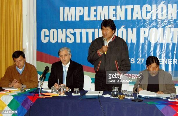 Bolivian President Evo Morales speaks next to the Secretary of the Presidency Juan Quintana Vice President Alvaro Garcia Linera and the Foreign...
