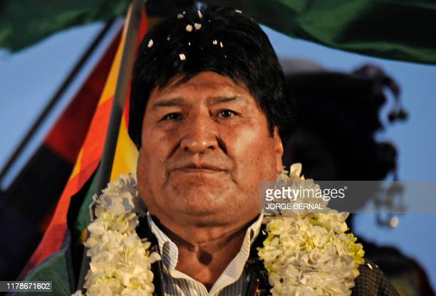 Bolivian President Evo Morales takes part in his party's celebration for obtaining a new term in office days after the country's electoral court...