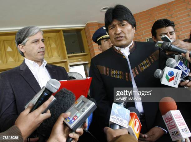 Bolivian President Evo Morales talks to the media after giving vice President and President of the Congress Alvaro Garcia Linera the repeal...