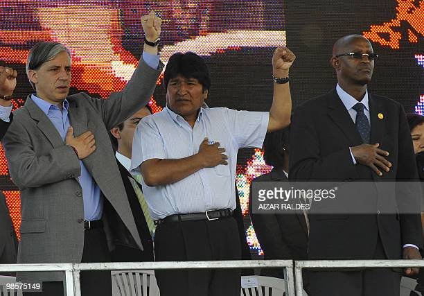 Bolivian President Evo Morales , Vice-President Alvaro Garcia and the Vice-President of Burundi Pierre Nkurunziz take part in the inauguration...