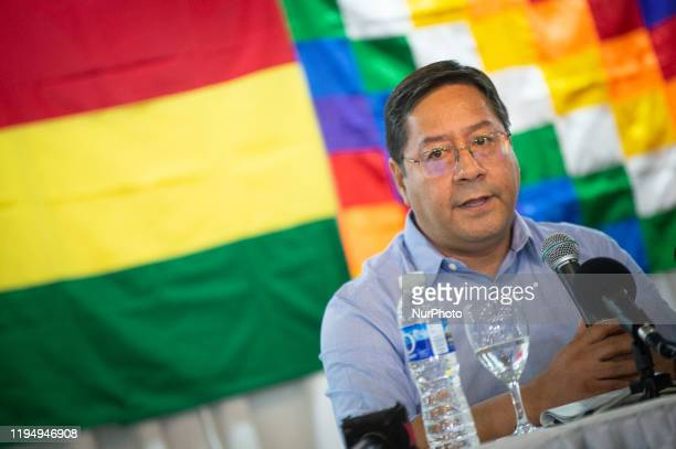 Bolivian presidential candidate for the Movement for Socialism party, Luis Arce, speaks during a press conference, in Buenos Aires, on January 20,...