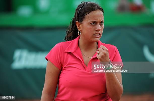 Bolivian tennis player Maria Fernanda Alvarez gestures during an Open Seguros Bolivar Bogota 2009 match against Natalia Guitler of Brazil on July 14...