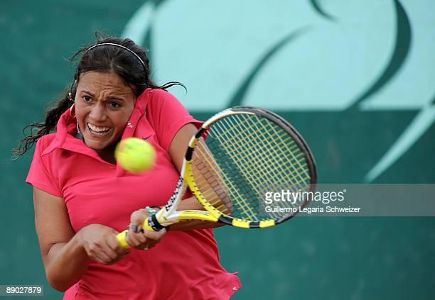 Bolivian tennis player Maria Fernanda Alvarez in action during an Open Seguros Bolivar Bogota 2009 match against Natalia Guitler of Brazil on July 14...