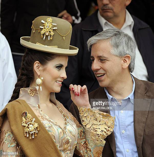 Bolivian VicePresident Alvaro Garcia Linera and his wife Claudia Fernandez are seen at the Morenada Central Cocanis brotherhood during the Carnival...
