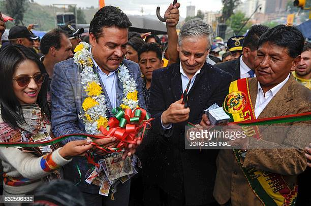 Bolivian VicePresidnet Alvaro Garcia Linera and La Paz Mayor Luis Revilla inaugurate the Alasitas Fair in La Paz on January 24 2017 In this and other...