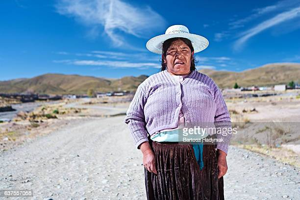 Bolivian woman in national clothing near Oruro, Bolivia
