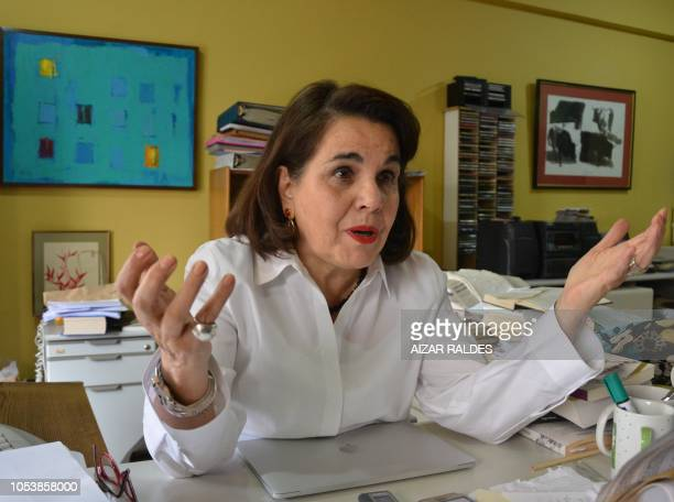 Bolivian writer and journalist Veronica Ormachea Gutierrez speaks during an interview with AFP in La Paz, on October 25, 2018. - Based in historic...