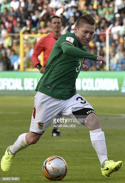 Bolivia's Alejandro Chumacero during their 2018 FIFA World Cup qualifier football match in La Paz on March 28 2017 / AFP PHOTO / AIZAR RALDES