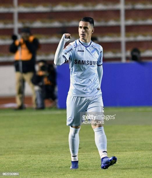 Bolivia's Bolivar player Juan Miguel Callejon celebrates after scoring against Ecuador's Delfin during their Copa Libertadores football match at...
