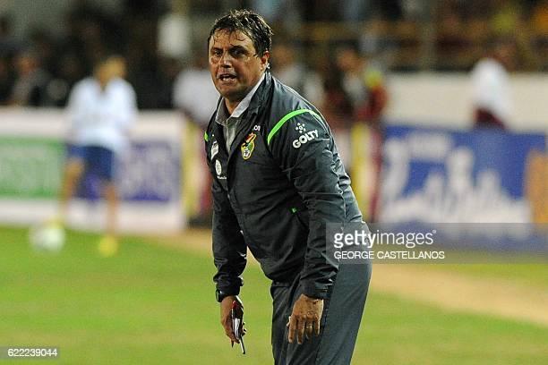Bolivia's coach Angel Guillermo Hoyos gestures during their WC 2018 qualifier football match against Venezuela in Maturin Venezuela on November 10...
