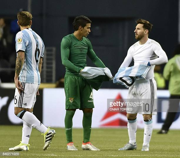 Bolivia's Diego Bejarano and Argentina's Lionel Messi exchange jerseys at the end of their Copa America Centenario football tournament match in...