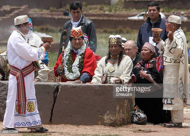 Bolivia's elect President Evo Morales is purificated in a ritual by Amautas in the Akapana site of the sacred place of Tiwanaku more than 70 kms...