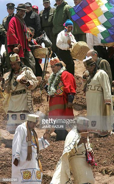 Bolivia's electPresident Evo Morales descends the Aakapana hill flanked by Amautas in the sacred place of Tiwanaku more than 70 kms south from La Paz...