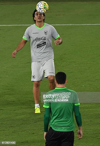 Bolivia's football team player Marcelo Moreno takes part in a training session at the Arena Dunas stadium in Natal, Brazil on October 5, 2016. Brazil...