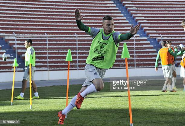 Bolivia's football team player Pablo Daniel Escobar takes part in a training in La Paz on August 29 2016 Bolivia prepares to face Peru and Chile for...