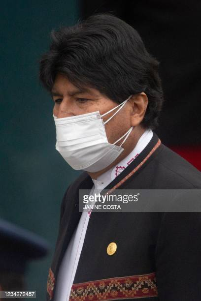 Bolivia's former President Evo Morales arrives to the Peruvian Congress to attend the inauguration ceremony of the elected president Pedro Castillo...