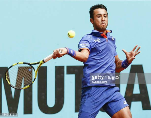 Bolivia's Hugo Dellien plays against Kei Nishikori of Japan in the second round of the Madrid Open tennis tournament in Spain on May 8, 2019. ==Kyodo