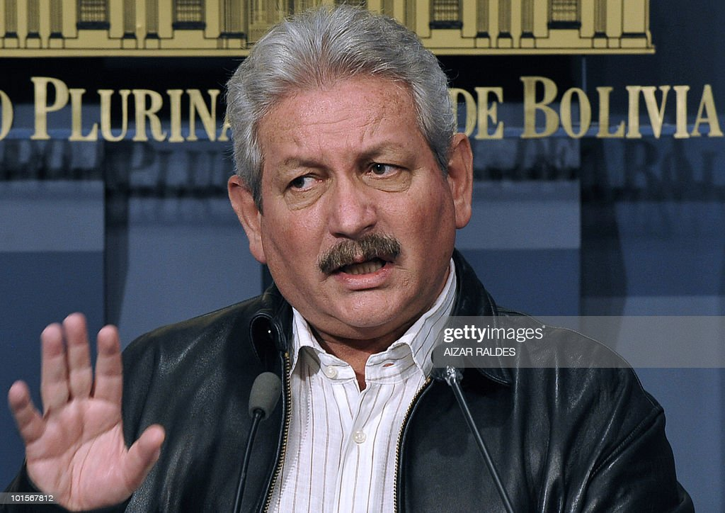 Bolivia's opposition leader Ruben Costas, governor of Santa Cruz, speaks during a press conference after meeting with president Evo Morales, at the Palacio Quemaado presidential palace in La Paz, June 2, 2010.