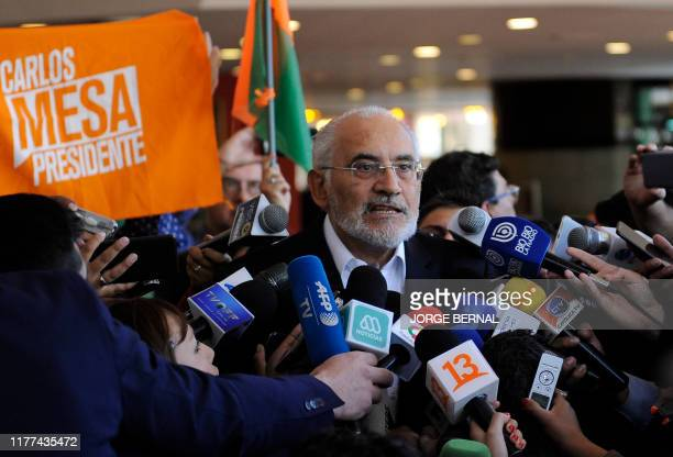 Bolivias opposition presidential candidate for 'Comunidad Ciudadana' party former president Carlos Mesa talks to the press after the presidential...