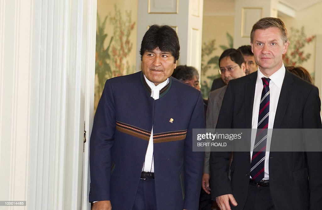 Bolivia's President Evo Morales (L) and Norwegian Minister of Environment and International Development, Erik Solheim arrive for a press conference on May 20, 2010 during an official visit in Oslo. Morales, who was the first indigenous head of state to be elected in 2005 and was widely re-elected to head Bolivia in December 2009, said he was 'absolutely convinced that discrimination would have continued, not only in Latin America but also in Bolivia' had he not been elected. Morales was also to discuss climate with his Norwegian counterparts during his three day visit.